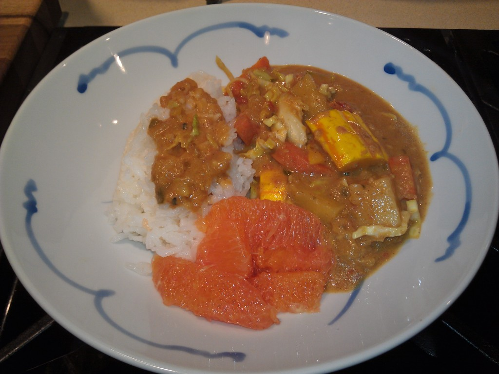Ground nut stew with basmati rice, Cara Cara oranges