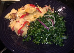 Stuffed, Scalloped Potatoes with Kale Salad