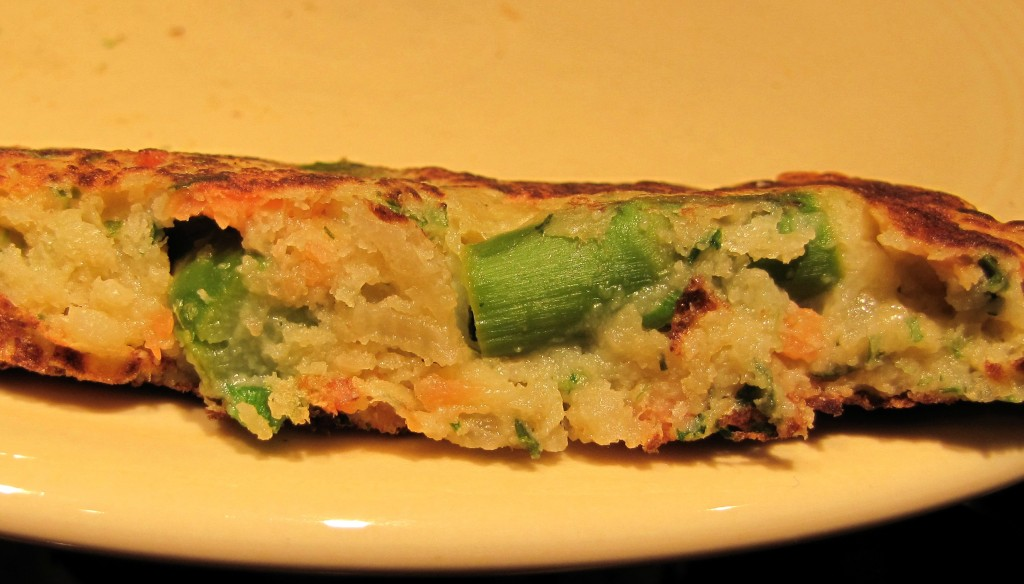 Side View - Asparagus Smoked Salmon Fritter / Stuffed Pancake