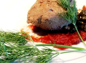 Chicken liver, dill frond, tomato jam