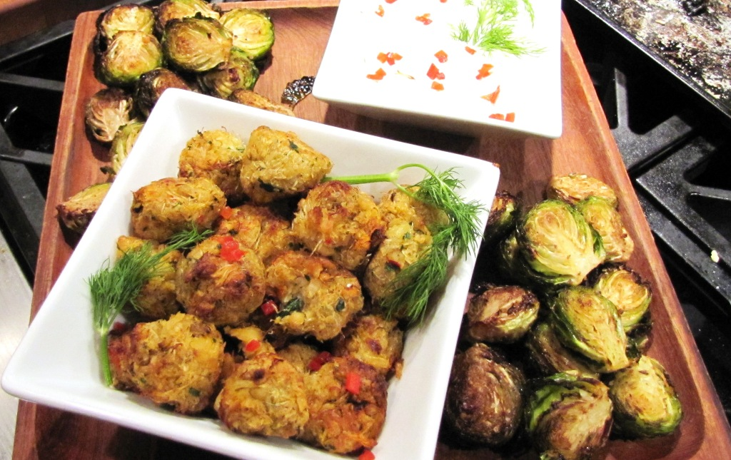 Crab Nuggets and Brussels Sprouts