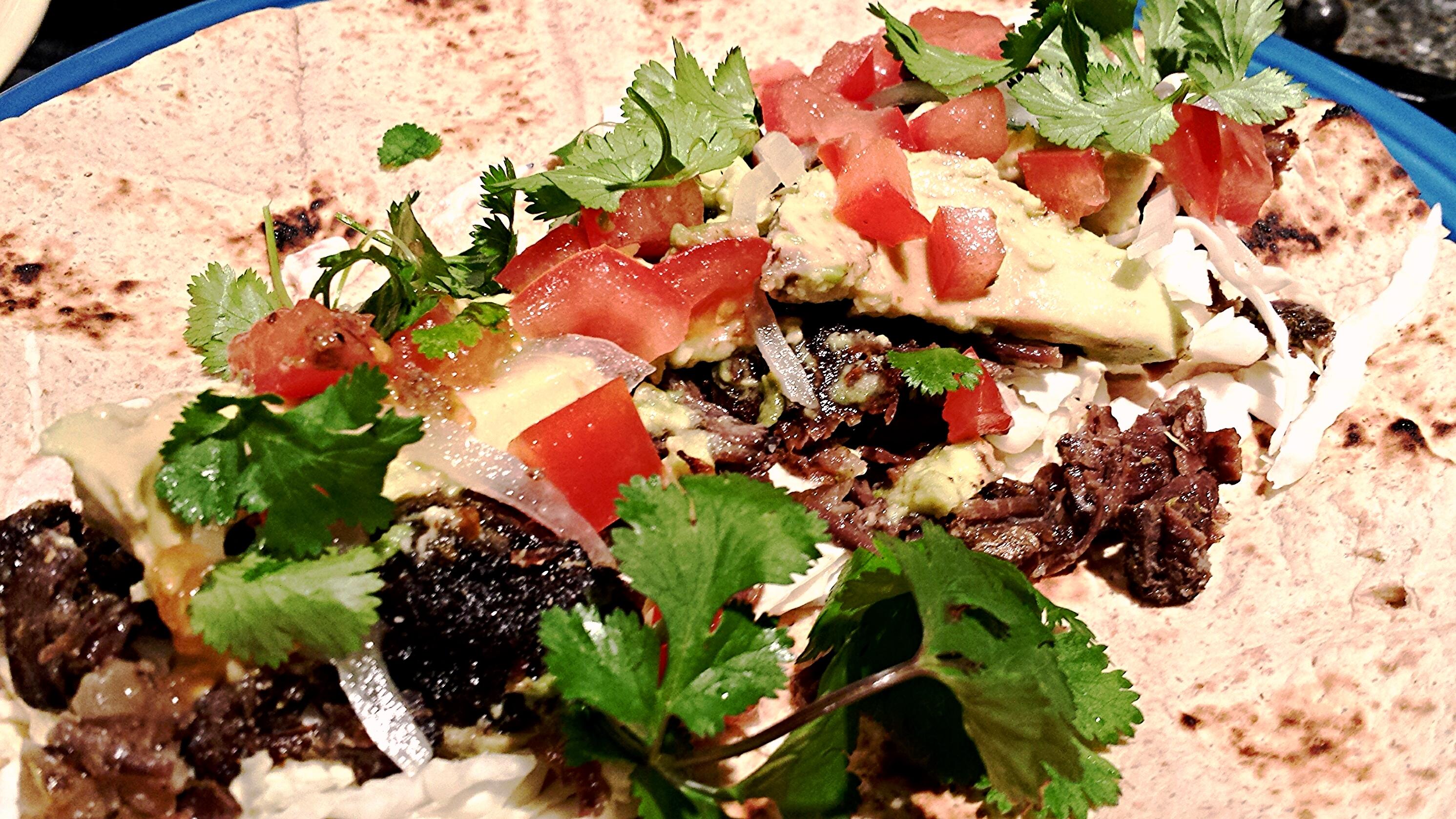 Beef cheek taco - burrito size!