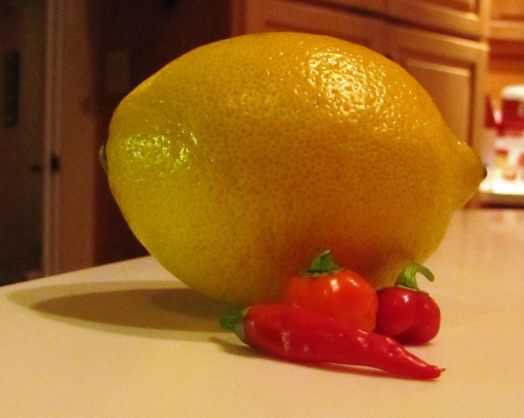 Hot peppers with lemon