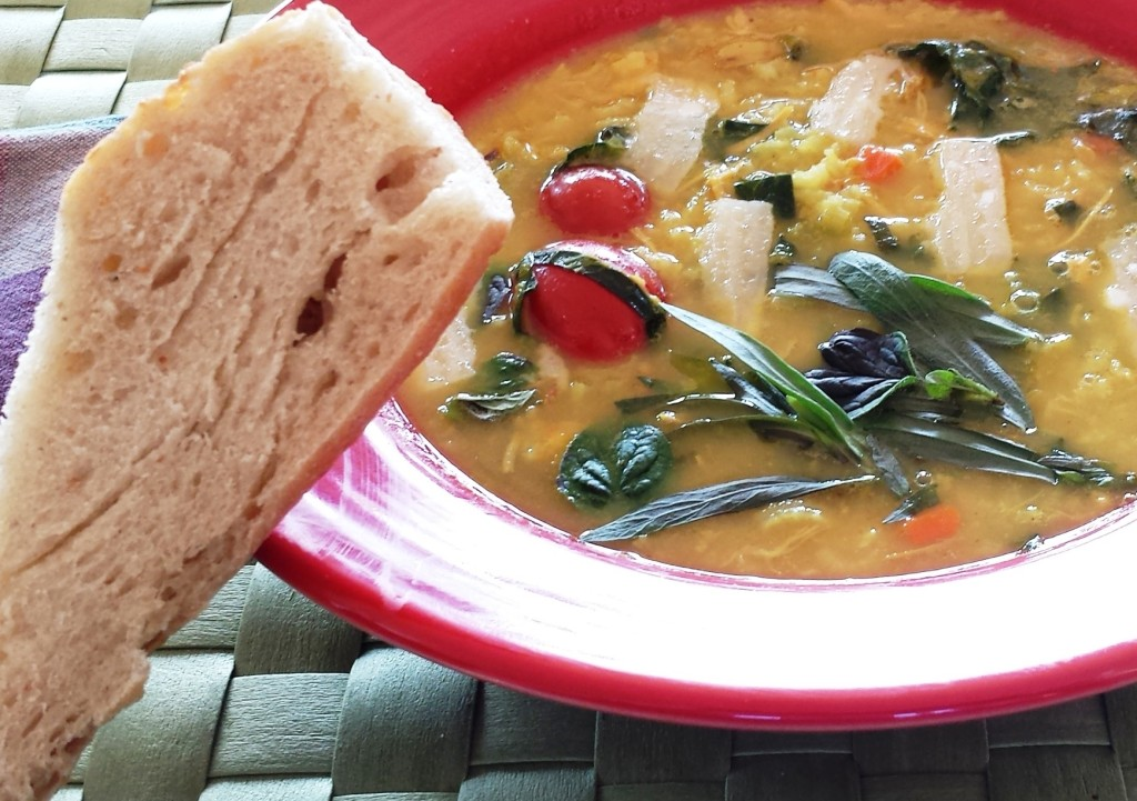 chicken soup with herbs and kale